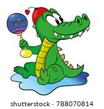 crocodile is sitting isolated...   Shutterstock .eps vector #788070814