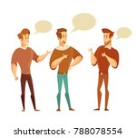 three men talking to each other.... | Shutterstock .eps vector #788078554