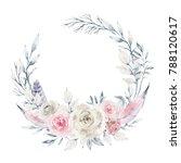 watercolor wreath with delicate ... | Shutterstock . vector #788120617
