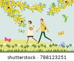 a couple walking with the... | Shutterstock .eps vector #788123251