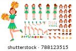 cheerleader girl vector.... | Shutterstock .eps vector #788123515