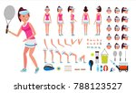 tennis player female vector.... | Shutterstock .eps vector #788123527