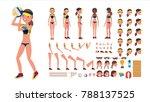 volleyball player. beach... | Shutterstock . vector #788137525