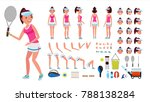 tennis player female. animated... | Shutterstock . vector #788138284