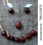 Small photo of a smile laid out of chestnuts on a cloth