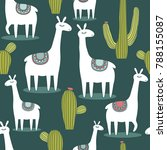lamas  hand drawn backdrop.... | Shutterstock .eps vector #788155087