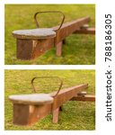 Small photo of wooden teeter totter from two frames