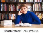 happy senior woman  with books...   Shutterstock . vector #788196811