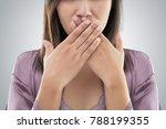 asian woman in purple nightgown ... | Shutterstock . vector #788199355