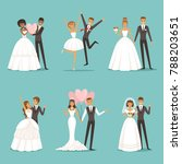 married couple characters set.... | Shutterstock . vector #788203651