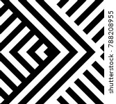 Seamless pattern with striped black white diagonal lines (zigzag, chevron). Rhomboid scales. Optical illusion effect. Geometric tile in op art. Vector illusive background. Futuristic vibrant design. | Shutterstock vector #788208955