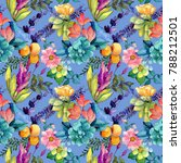 tropical flower pattern in a... | Shutterstock . vector #788212501