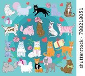 cats cartoon collection set... | Shutterstock .eps vector #788218051