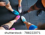 high angle of a group of sporty ... | Shutterstock . vector #788222071