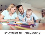 crayons drawing family father... | Shutterstock . vector #788230549