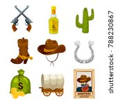 cartoon icon set for wild west... | Shutterstock . vector #788230867