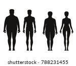 silhouette of fat and thin... | Shutterstock . vector #788231455