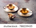 cups herbal tea and strainer on ... | Shutterstock . vector #788239435