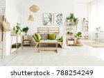 green pillows on sofa and... | Shutterstock . vector #788254249
