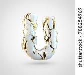 cracked letter u uppercase. 3d...   Shutterstock . vector #788254969