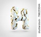 cracked letter h uppercase. 3d... | Shutterstock . vector #788255044
