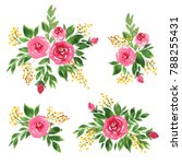 watercolor floral compositions... | Shutterstock . vector #788255431