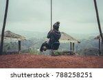 young woman traveler enjoying... | Shutterstock . vector #788258251