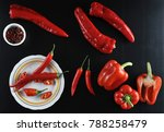 different types of peppers  ... | Shutterstock . vector #788258479