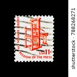 Small photo of MOSCOW, RUSSIA - NOVEMBER 24, 2017: A stamp printed in USA shows Early American Printing Pressv, Americana Issue serie, circa 1975