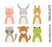 set of six cute cartoon animals ... | Shutterstock .eps vector #788281879