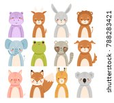 big set of cute cartoon animals ... | Shutterstock .eps vector #788283421