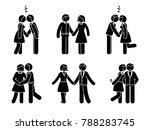 stick figure kissing couple set.... | Shutterstock . vector #788283745