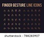 finger gesture vector line icon ...