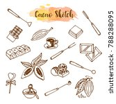 chocolate cacao sketch. design... | Shutterstock .eps vector #788288095