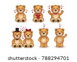 set of funny cartoon teddy... | Shutterstock .eps vector #788294701