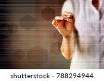 abstract hexagon molecule... | Shutterstock . vector #788294944