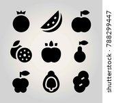 fruits vector icon set.... | Shutterstock .eps vector #788299447