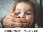 Small photo of Abused child. Kid don't be quiet. Children abuse is a crime.
