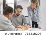creative team of three mixed...   Shutterstock . vector #788318209