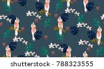 tropical pattern. pattern with... | Shutterstock .eps vector #788323555
