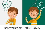 boy thinking. emotions and... | Shutterstock .eps vector #788325607