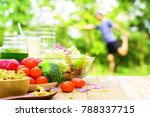 lifestyle food during yoga... | Shutterstock . vector #788337715