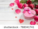 pink gift box with fresh red... | Shutterstock . vector #788341741