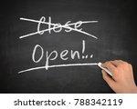 open chalkboard hand write...   Shutterstock . vector #788342119