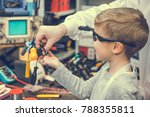 happy kid and physics teacher... | Shutterstock . vector #788355811