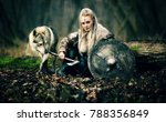 warrior woman  with a woolf in... | Shutterstock . vector #788356849