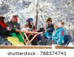 skiers group having fun and... | Shutterstock . vector #788374741