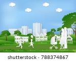 happy family having fun in the...   Shutterstock .eps vector #788374867