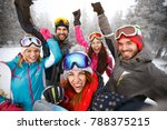 cheerful young skiers on skiing ... | Shutterstock . vector #788375215