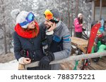 young couple in love on winter... | Shutterstock . vector #788375221